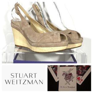 New Stuart Weitzman Vent Suede Heels Sz 9 Wedges